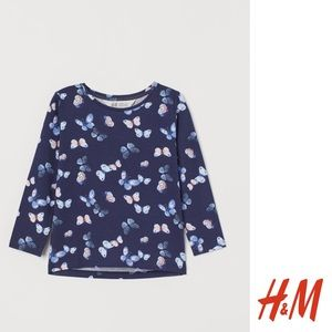 NWT H&M Girls Blue Butterfly Long Sleeve Top 2-4Y